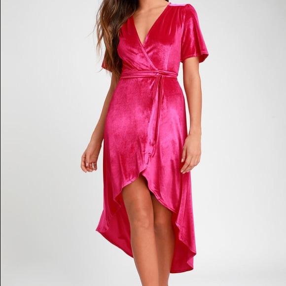 Lulu's Dresses & Skirts - NWT Lulus Amour Hot Pink Velvet Wrap Dress
